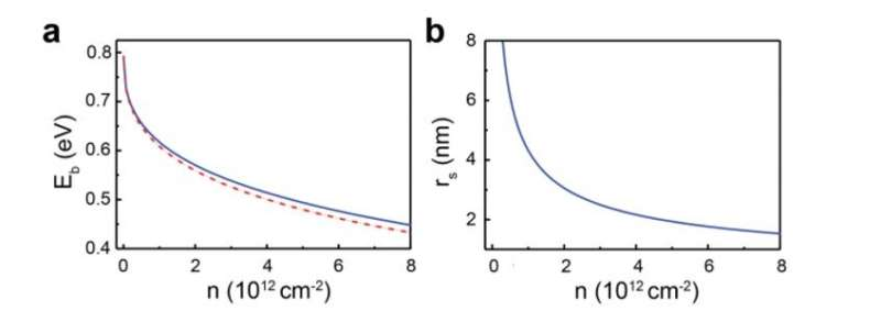 **Giant gate-tunable bandgap renormalization and excitonic effects in a 2-D semiconductor