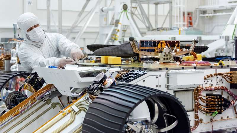 NASA's Mars helicopter attached to Mars 2020 rover