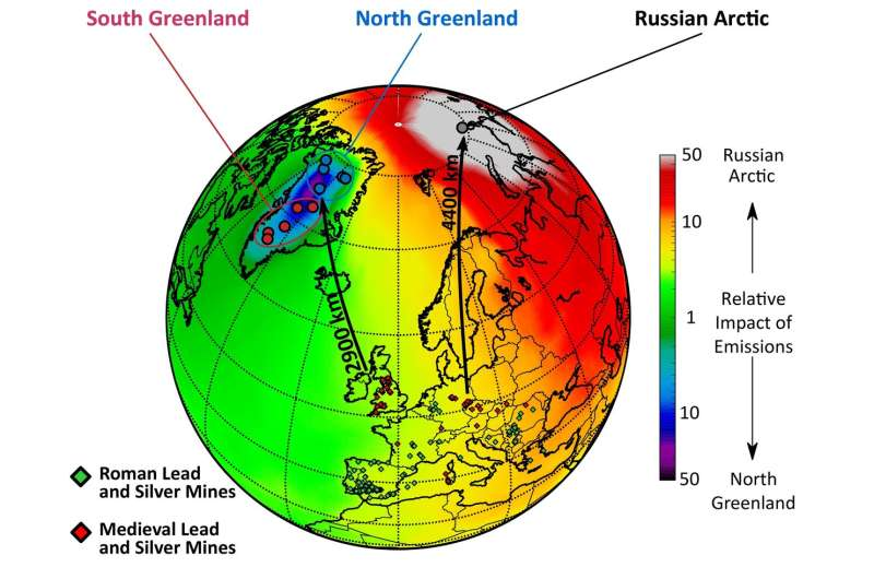 Lead pollution in Arctic ice show economic impact of wars and plagues for past 1,500 years