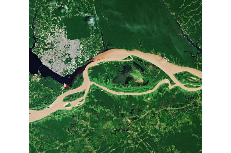 Image: The Rio Negro and the Solimões River meet to form the Amazon River