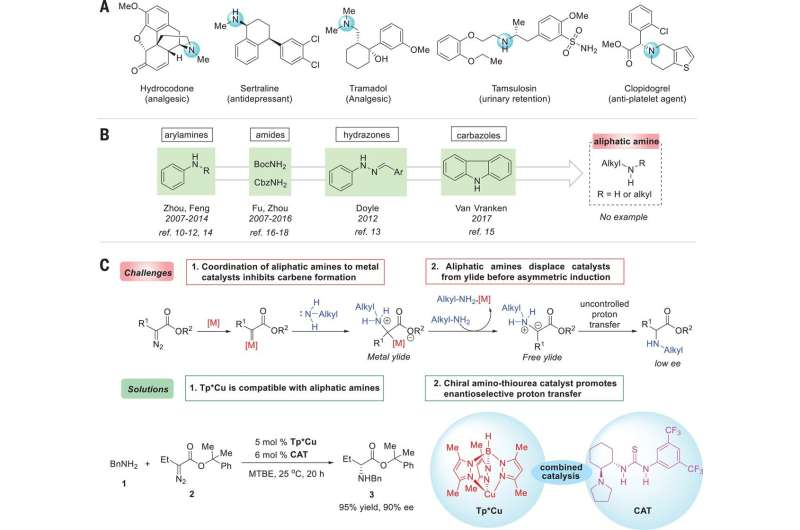 Using a two-step approach to convert aliphatic amines into unnatural amino acids