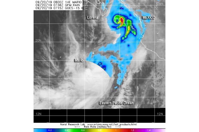NASA analyzes rainfall rates Hurricane Lorena over Mexico, and Mario nearby