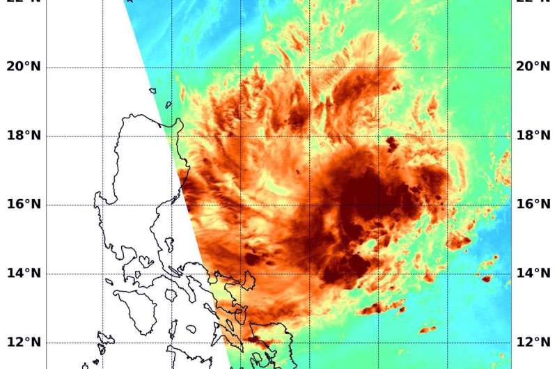 NASA looks at Tropical Depression Kalmaegi's water vapor concentration