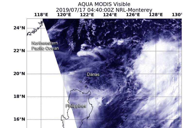 NASA finds tropical storm Danas northeast of the Philippines