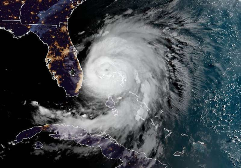 This satellite image obtained from NOAA/RAMMB shows Hurricane Dorian as it sits over the Bahamas