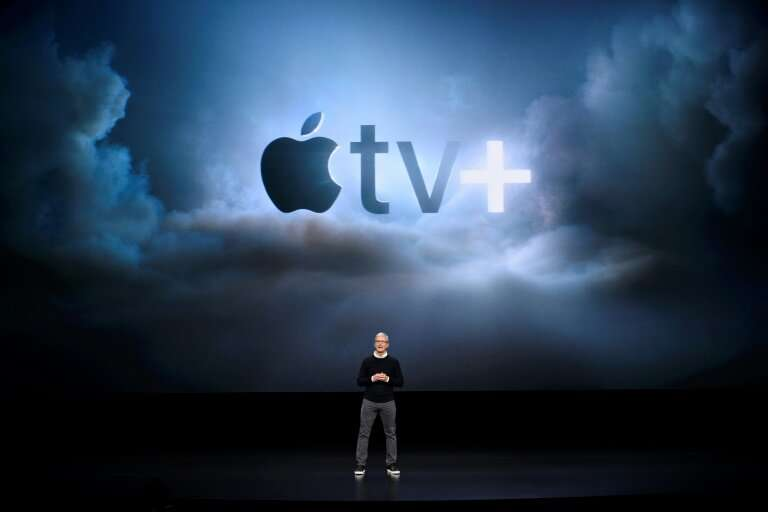 Apple CEO Tim Cook speaks during a company product launch event at the Steve Jobs Theater at Apple Park