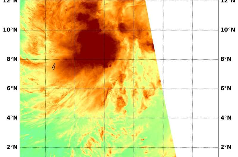 NASA analyzes Tropical Cyclone Phanfone's water vapor concentration