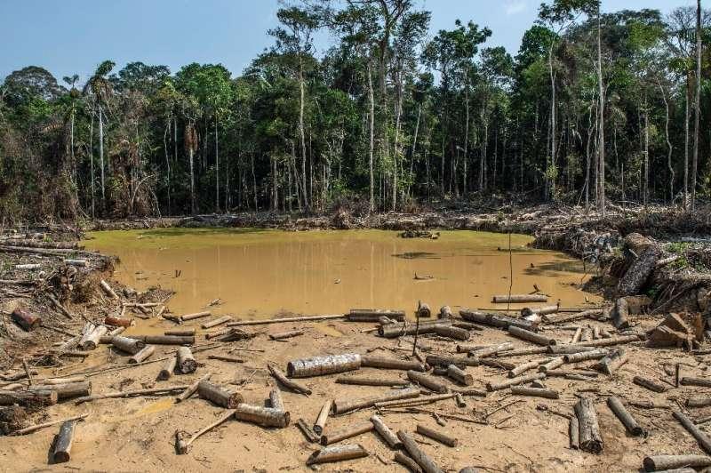 A damaged area of the Amazon rainforest left behind by an illegal mining operation near Puerto Maldonado, Peru