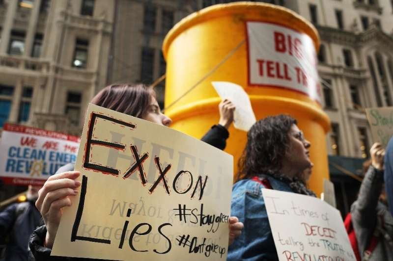 A February 2017 protest by environmentalists in support of a New York state Exxon Mobil probe on climate change that will be the