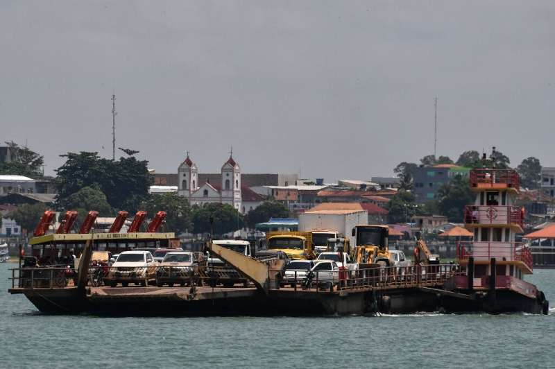 A ferry crosses the Tapajos River in Itaituba, a town along the trans-Amazonian highyway in Brazil's Para state