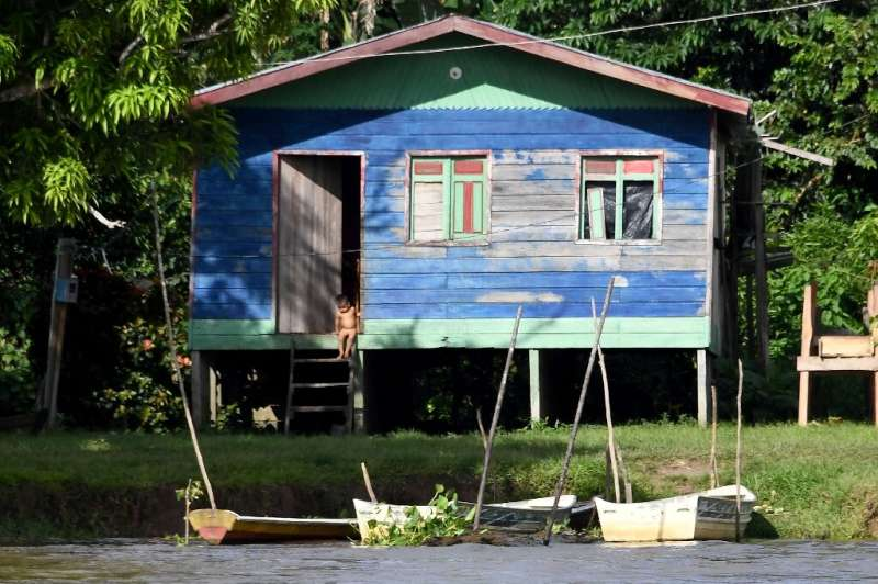 A house built on the bank of  Solimoes River near Tefe, Amazonas State, northern Brazil