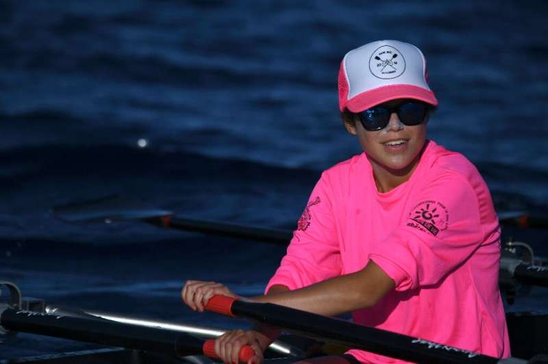 Alexandra Caldas, a 23-year-old woman suffering from cystic fibrosis competes in a nautical marathon, on September 14, 2019 off