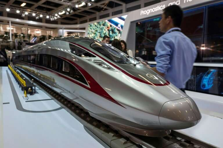 """A model of the high speed """"Fuxing"""" bullet train made by Chinese rail giant CRRC is on display at Innotrans, the railwa"""