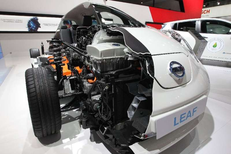 A model shows the insides of a Nissan Leaf electric car