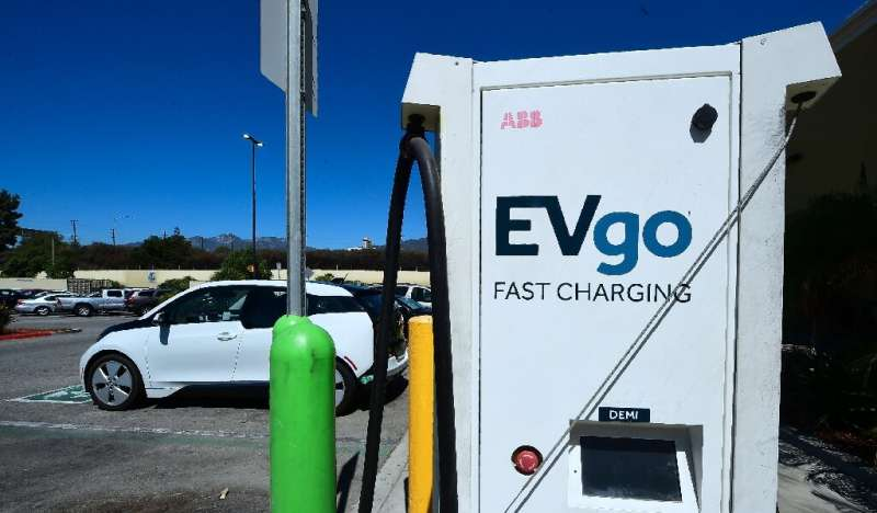 An Electric Vehicle is plugged in for a charge from EV charging stations at a Walmart parking lot in Duarte, California on Septe