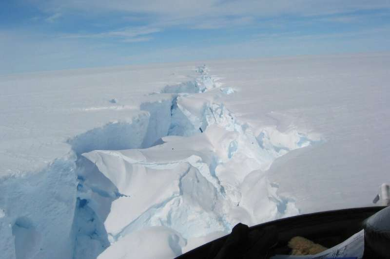 An image by Richard Coleman and the Australian Antarctic Division a massive split in the Amery ice shelf