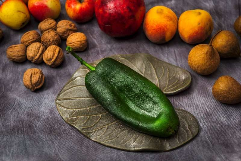 """A poblano chile pepper is pictured with other ingredients used to make """"Chile en Nogada"""" at Mexican chef Ricardo Munoz"""