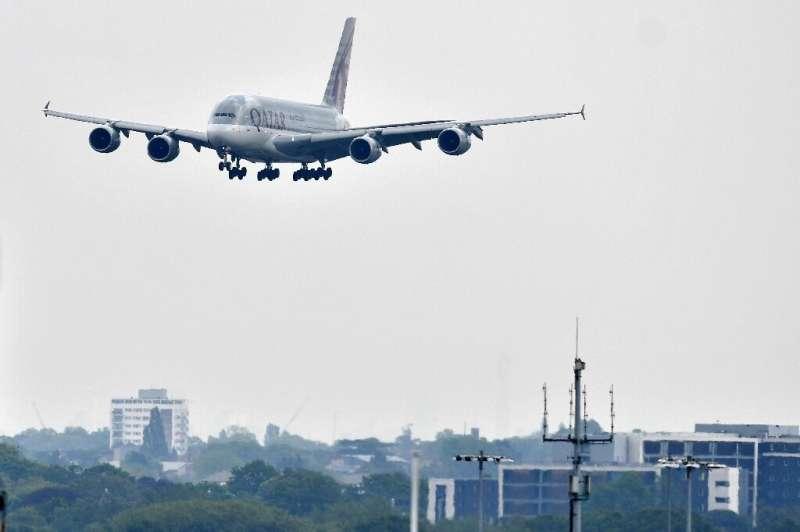 A Qatar Airways A380-800 aircraft prepares to land at London Heathrow Airport