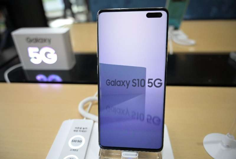 A Samsung Galaxy S10 5G smartphone displayed at a telecom shop in Seoul last month