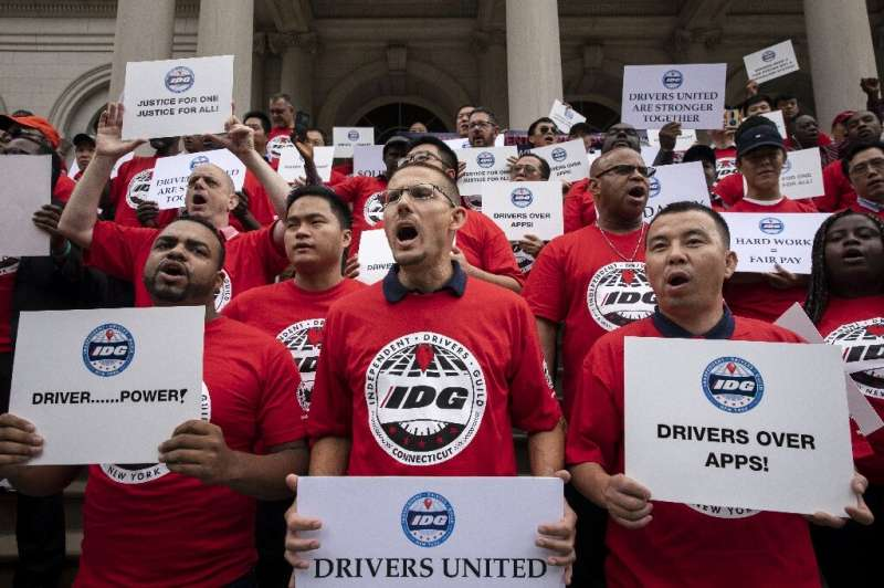 As California debated legislation on rules for rideshare drivers, activists in New York rallied on Septmebr 10 for wage enforcem