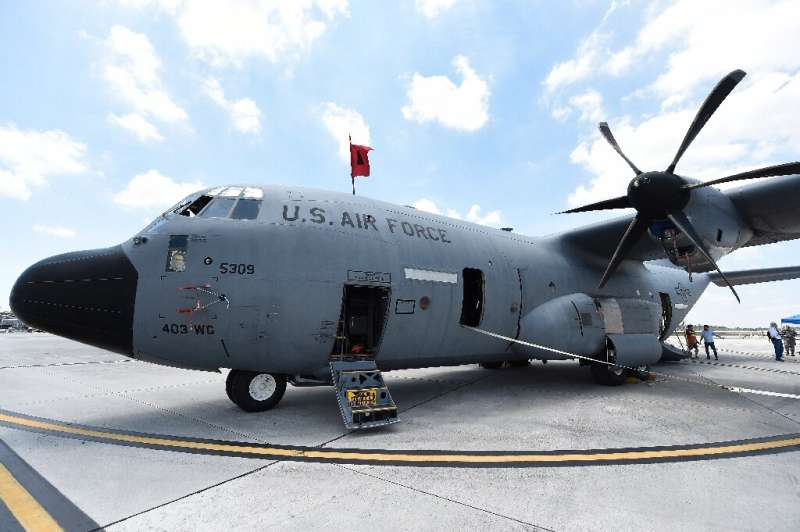 A US Air Force Hurricane Hunter WC-130 reconnaissance aircraft