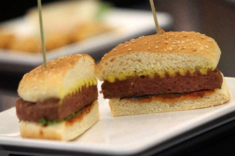A vegan burger at the international meat industry fair IFFA in Frankfurt