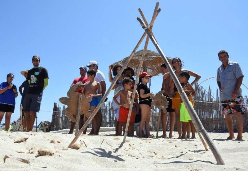 Beachgoers near a protected turtle nest  during the hatching season on Tunisia's Kuriat Island