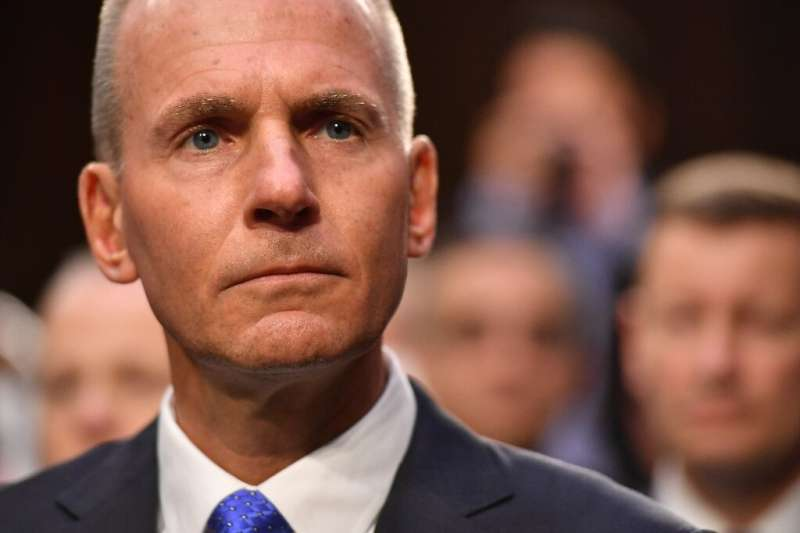 Boeing president and CEO, Dennis Muilenburg arrives at a Senate hearing on the 737 MAX after two deadly crashes