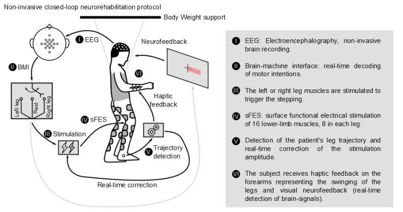 Brain-controlled, non-invasive muscle stimulation allows chronic paraplegics to walk