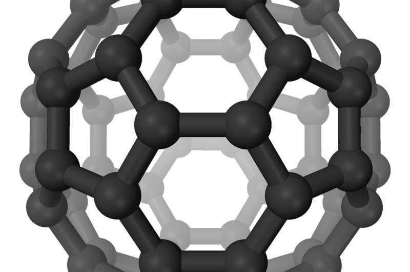 Buckyballs release electron-positron pairs in forward directions
