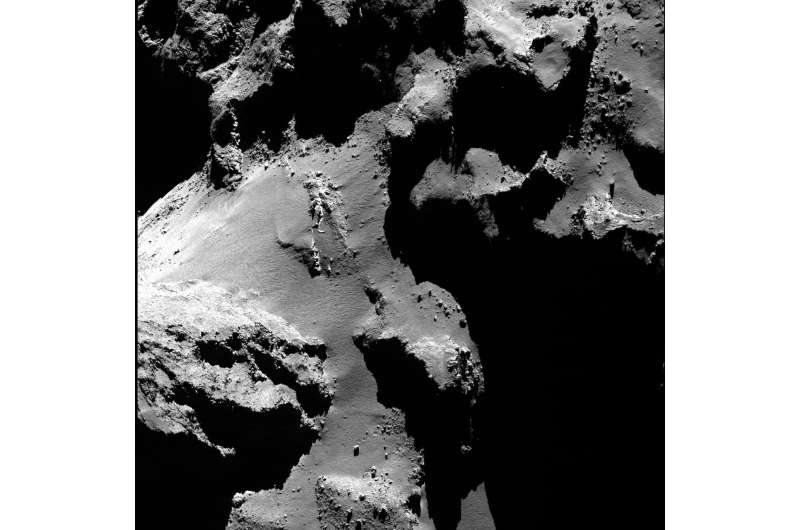 Comet's collapsing cliffs and bouncing boulders