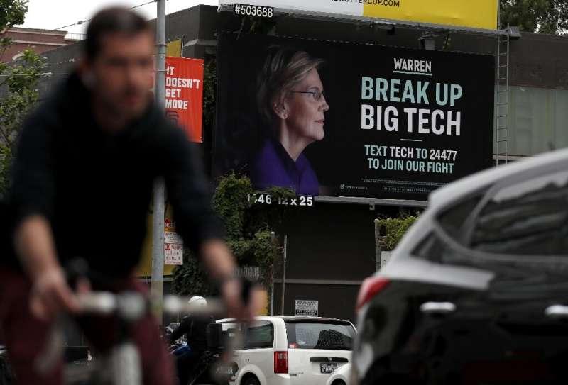 Democratic presidential hopeful Senator Elizabeth Warren, whose billboard is seen in San Francisco, has made breaking up Big Tec