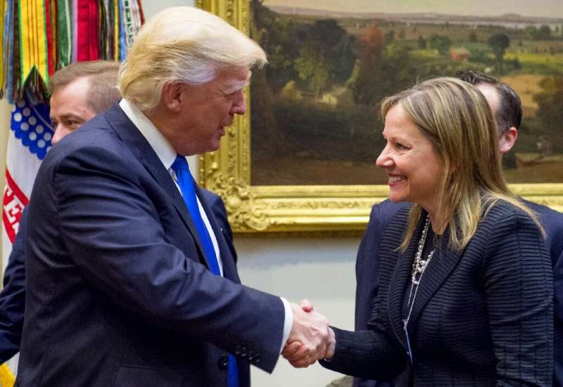 Donald Trump (L, pictured January 2017) said GM chief Mary Barra (R) had told him of plans to sell the Lordstown, Ohio plant to