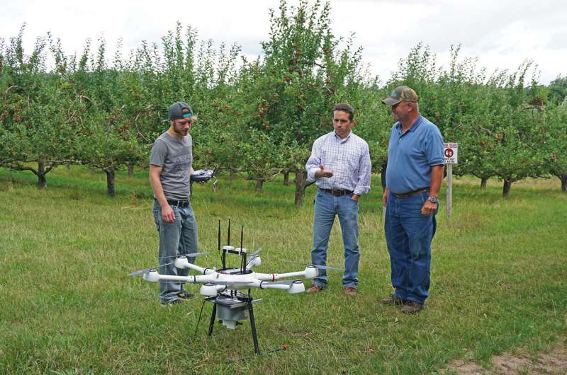 Drone technology used to release sterile insects to disrupt orchard pests
