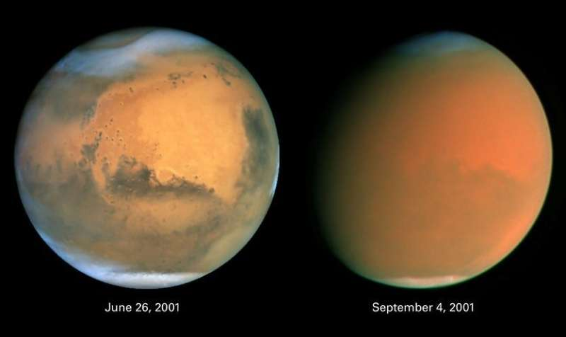 Dust storms on Mars