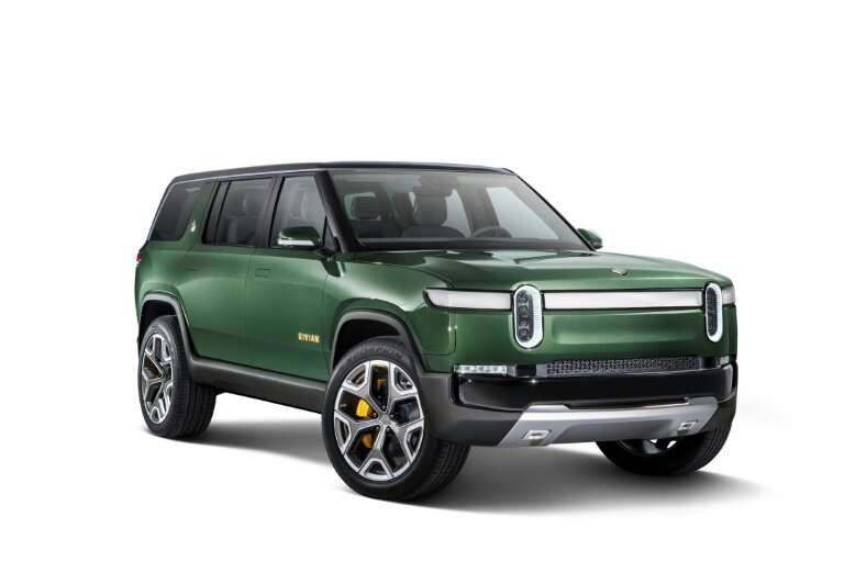 Electric car startup Rivian, whose prototyope R1S vehicle is seen here, has received $700 million in a funding round led by Amaz