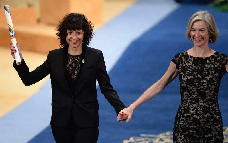 Emmanuelle Charpentier (L) and Jennifer Doudna helped revolutionize biomedicine with their work developing CRISPR-based gene edi