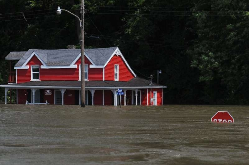 Flooding from the Mississippi River inundates a neighborhood on June 7, 2019 in Grafton, Illinois