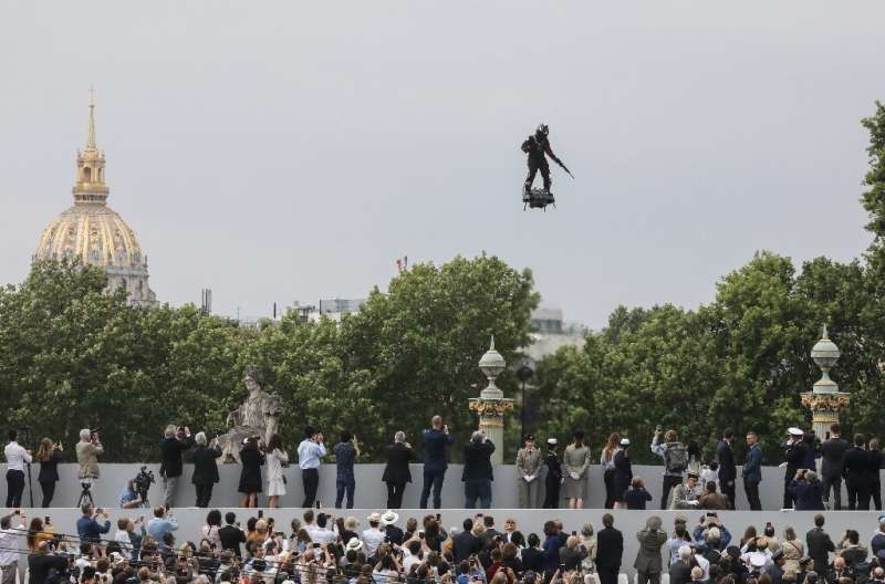 Franky Zapata flew above the Champs-Elysees boulevard in Paris for the annual July 14 parade