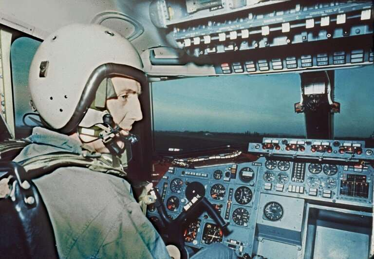 French pilot Andre Turcat, who was at the controls for the first test flight of the Concorde, pictured here a few months later i