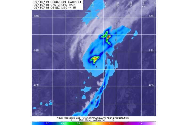 GPM finds rainfall waning in extra-tropical storm Gabrielle