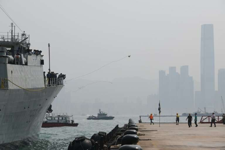 HMCS Vancouver, a Royal Canadian Navy frigate, docking in Hong Kong in May 2018: Canada has signed a Can$185 million contract wi