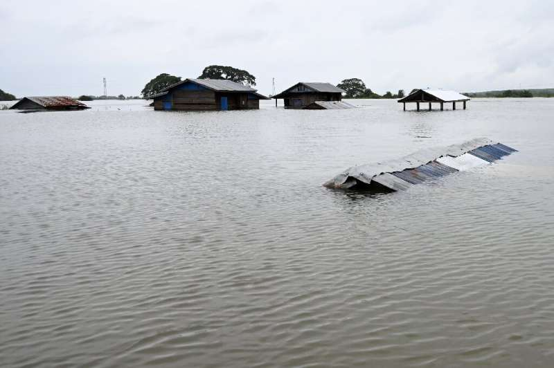 Houses have been submerged by floodwaters in Shwegyin township of the Bago Region in Myanmar