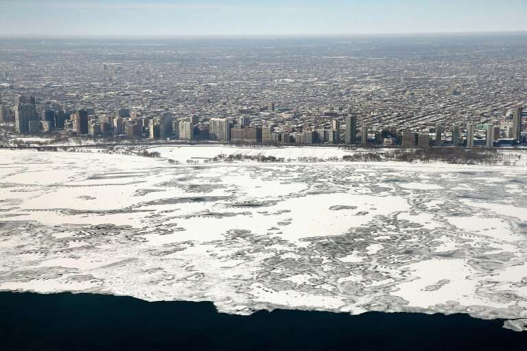 Hundreds of flights were cancelled in major regional hub Chicago, seen under snow and ice in 2014, the last week of January 2019