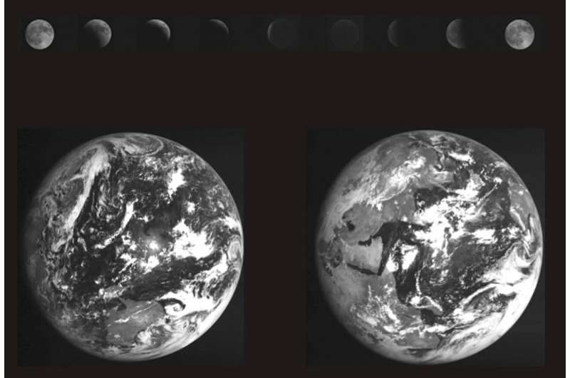 Image: Earth and an eclipsed moon