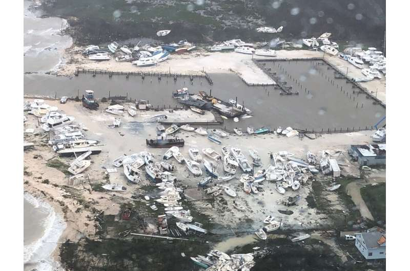 In this image courtesy of the US Coast Guard, boats are seen strewn across a marina in Andros Island, Bahamas