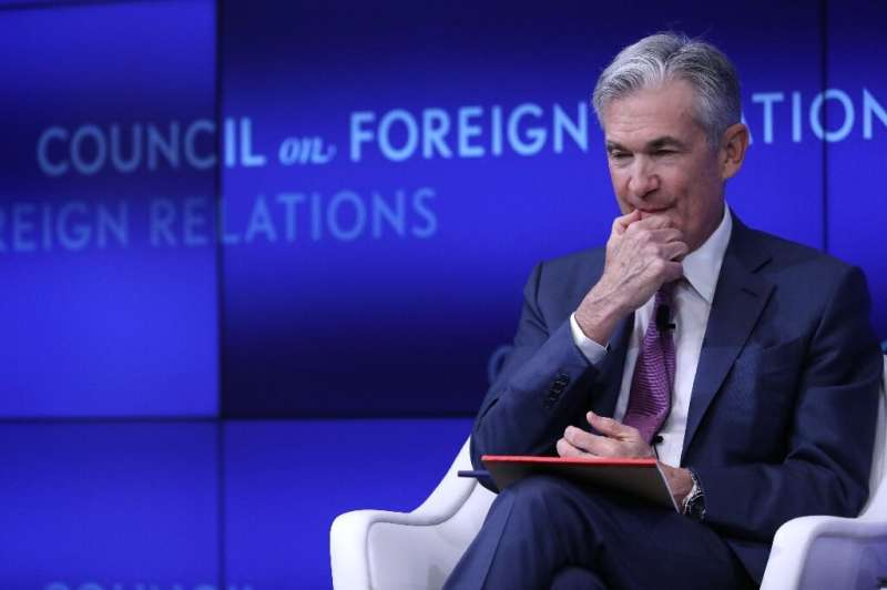 Jerome Powell, chairman of the Board of Governors of the Federal Reserve, speaks in conversation with Neil Irwin of the New York