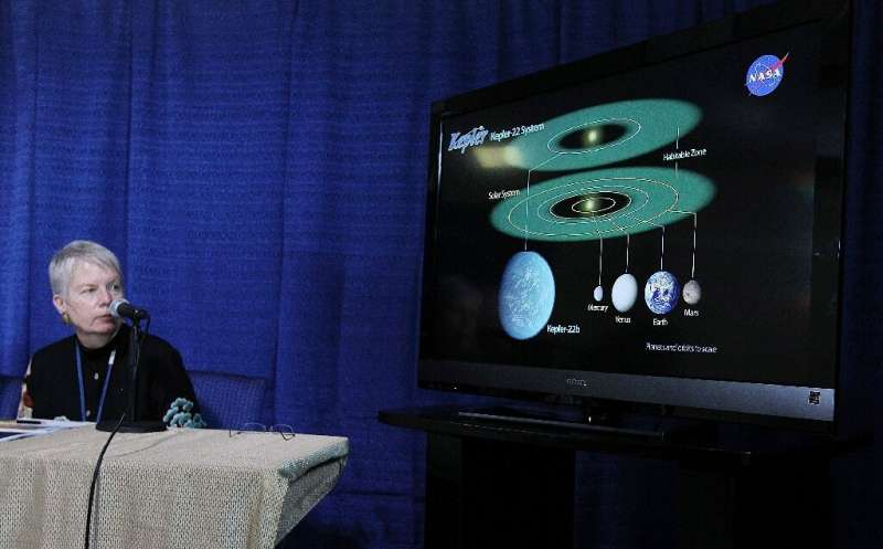 Jill Tarter delivers a presentation on the discovery of the planet Kepler-22b, at NASA's Ames Research Center in 2011