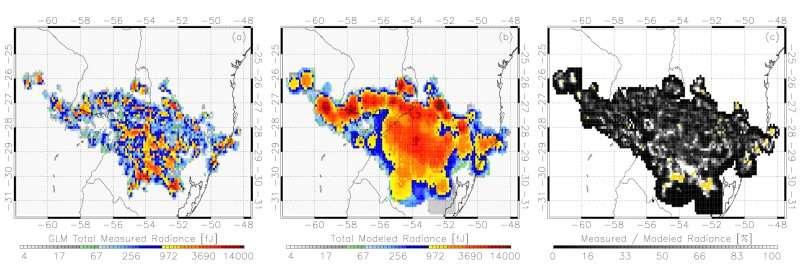 Lightning flashes illuminate storm behavior