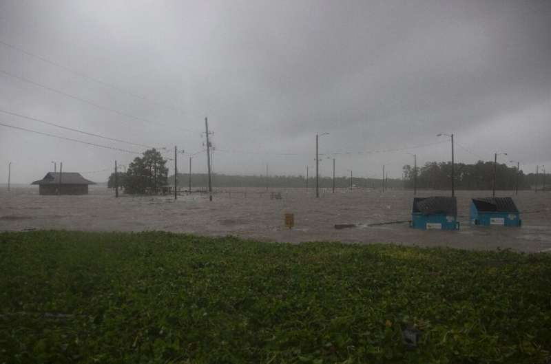 Major storm Barry left a parking lot flooded in Berwick, Louisiana